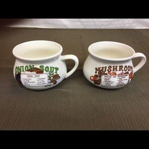 Vintage Soup Crocks: Mushroom/Onion Soup
